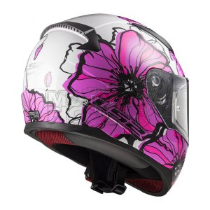 Casco Integral Ls2 Ff353 Rapid Poppies Blanco/rosa
