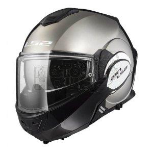 Casco Moto Abatible Ls2 Ff399 Valiant Solid Negro/gris