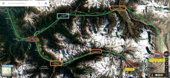 North Sikkim Bike Trip Route Map - Lachen and Lachung