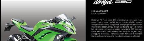 Harga Ninja 250FI - Non ABS
