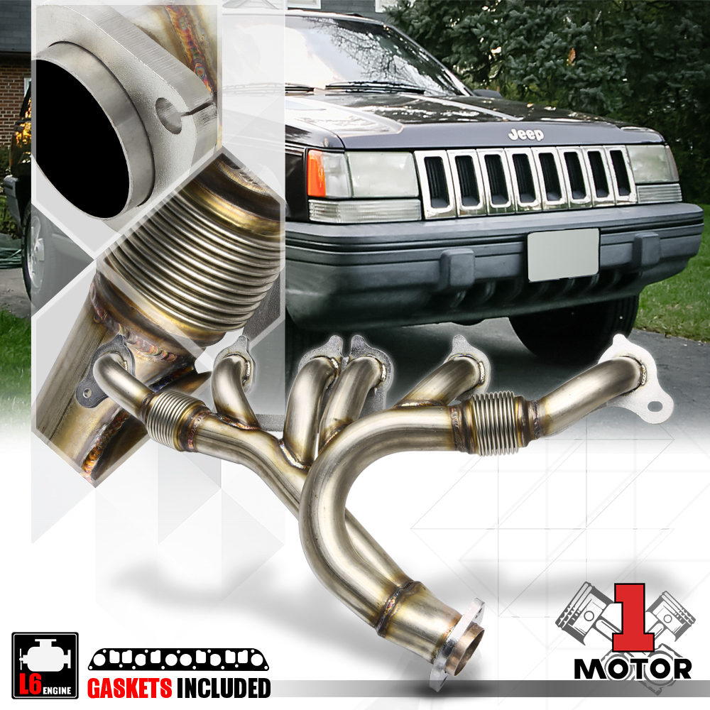 small resolution of details about ss exhaust header manifold for 91 99 jeep wrangler cherokee yj tj 4 0 242 6cyl