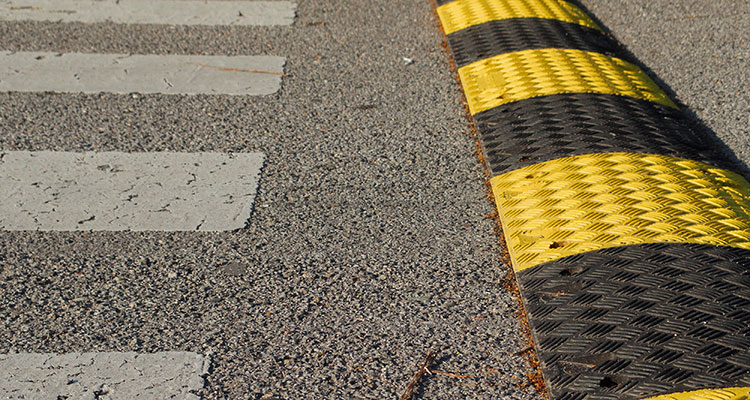 Speed Bumps And Crosswalk
