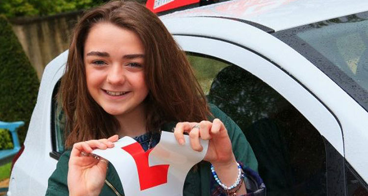 maisie williams passing driving test