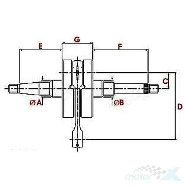 Power Rod Wał korbowy 12mm Power Rod Kymco ZX / Honda Dio
