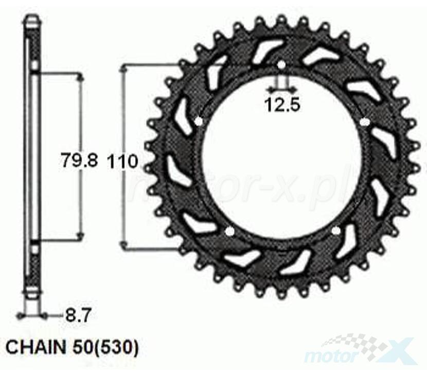 ZĘBATKA NAPĘDZANA SUNSTAR STALOWA SUNR1-5334 48 ZĘBÓW