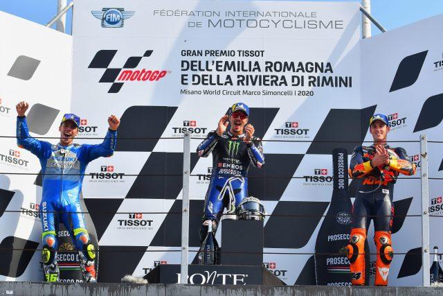 Maverick Viñales, Joan Mir y Pol Espargaró en el podio de Misano con motivo del Gran Premio Emilia Romagna de MotoGP