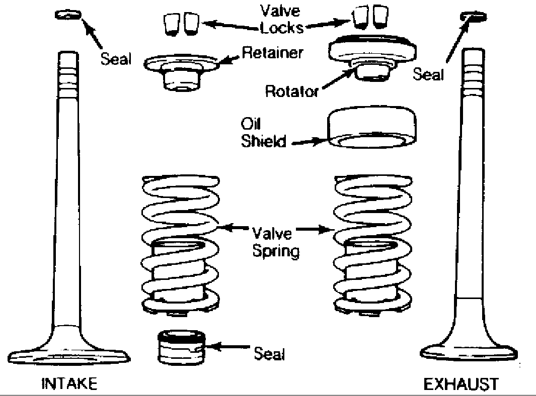 Fig. 2: Exploded View of Intake & Exhaust Valve Assemblies