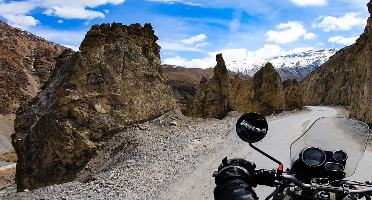 this is the spiti valley bike going to kaza