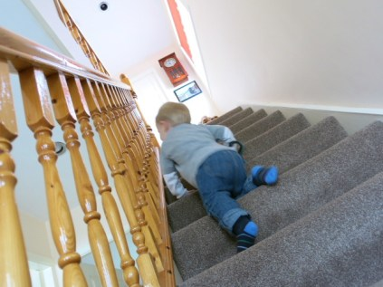 up the stairs
