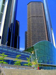 Detroit's Renaissance Center, seen from RiverWalk