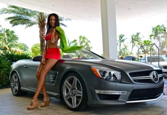 2013 SL63 AMG Mercedes-Benz Fashion Week SWIM Supermodel Bikini Red