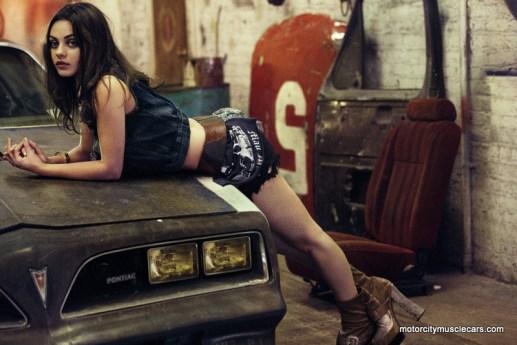 Mila Kunis Poses Hood 1977 Pontiac Trans AM Interview Magazine
