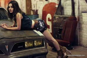 Mila Kunis Poses Hood 1977 Pontiac Trans AM Interview Magazine