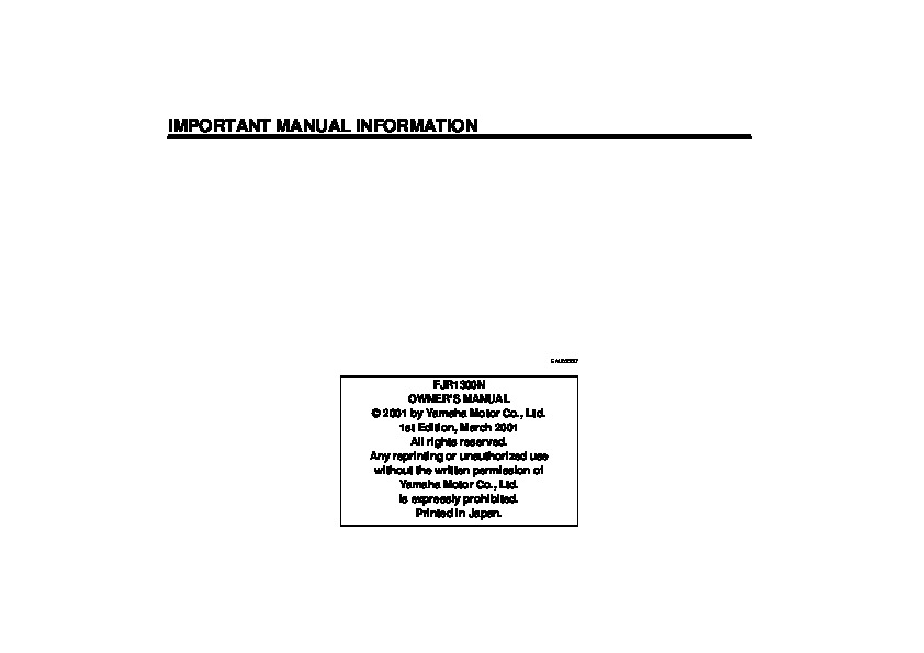 2002 Yamaha FJR1300 N Owners Manual