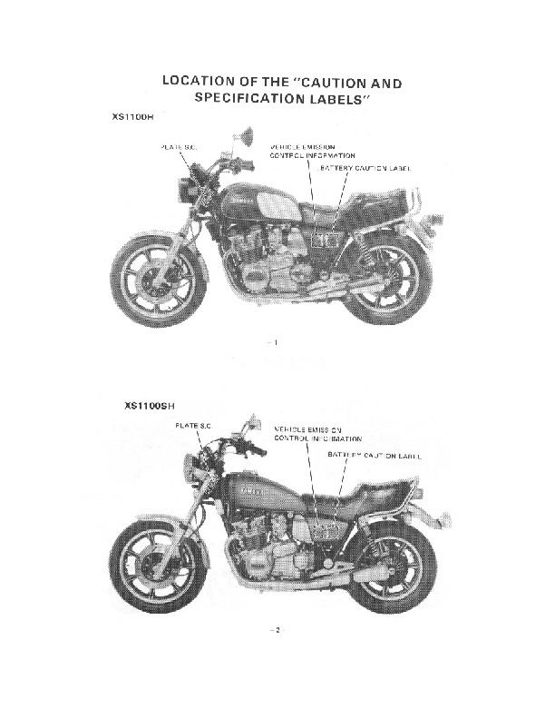 1978-1981 Yamaha XS1100H XS1100SH Owners Manual