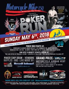 CHarity Run Flyer with motorcycle and list of sponsors