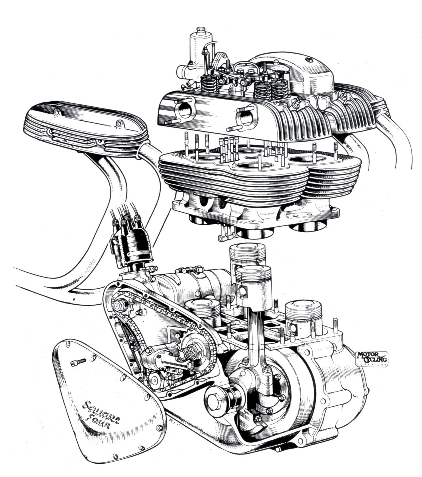 Ariel Square Four cool engine cutaway drawing
