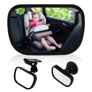 TedGem Baby Car Mirror with a suction cup for attaching to the windscreen