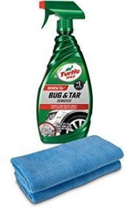 Turtle Wax T520A Bug and Tar Remover with 2 Microfiber Towels, best way to remove bugs from front of car