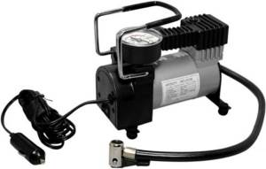 A portable air compressor for car tires with vibration absorption function