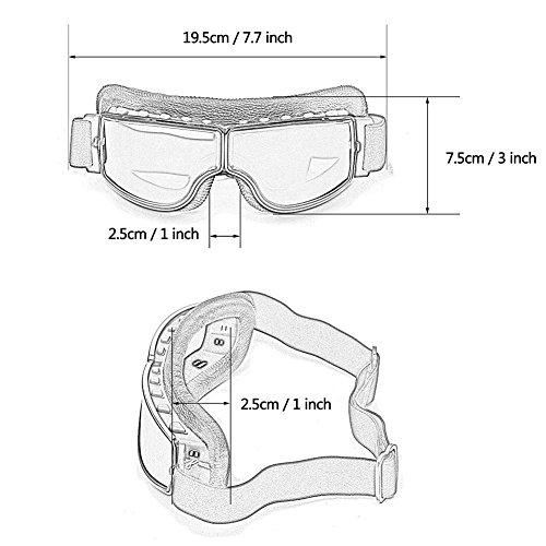 LEAGUE&CO Gafas de Moto Retro Vintage Gafas de Protección