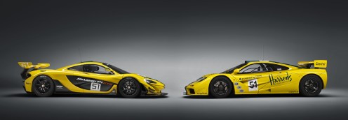 Brothers in arms: Er ist nicht schwer zu erkennen, wer den alte Recke und wer der junge Held ist. Rechts der P1 GTR, links der F1 GTR. (Werksfoto)