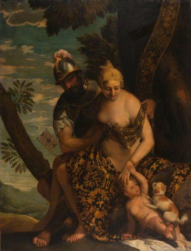 Mars und Venus unter einem Baum nach einem Gemaelde von Paolo Veronese als Beispiel für einen idyllischen Ruheplatz unter einem Baum