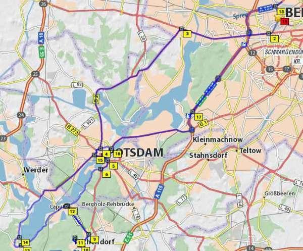Streckenplan der Motorradtour Schwielowsee