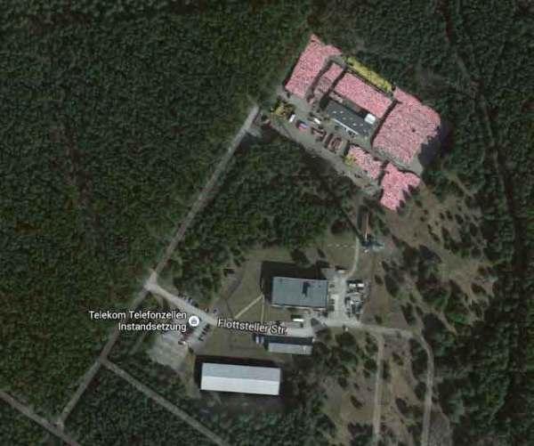 Luftbild des Telefonzellenlagers Michendorf