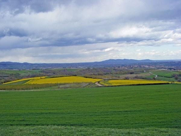Blick auf die Westalpen aus dem Bergland zwischen Lyon und der oberen Loire, genossen bei einer Motorradtour zum Hutmuseum