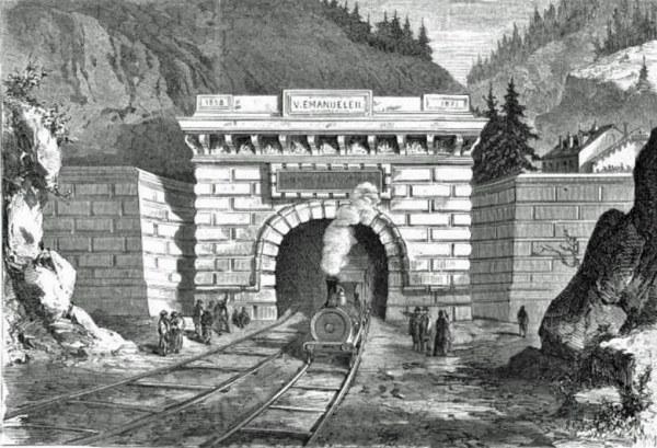 Altes Bild von der Nordeinfahrt des Bahntunnels am Mont Cenis