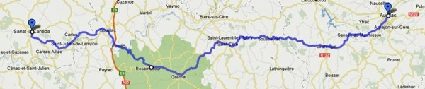 eckenkarte der 3. Etappe der Motorradtour Südwestfrankreich Teil 1 von Aurillac nach Sarlat-la-Canéda