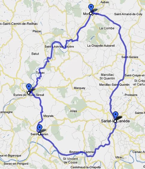 Streckenkarte einer Motorradtour Südwestfrankreich Teil 1: 4. Etappe durch den Périgord