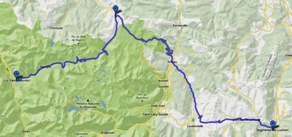 Streckenplan 12. Etappe Motorradtour Südfrankreich Teil 2 durch die französischen Pyrenäen von Luz-St-Sauveur nach Bagnères-de-Luchon