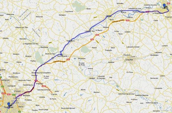 16. Etappe Motorradtour Südwestfrankreich Teil 2 von Toulouse nach Albi durch die Départements Aveyron und Tarn