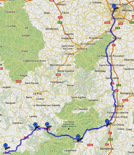 18. Etappe Motorradtour Südwestfrankreich Teil 2 von Mende im Département Aveyron durch die französischen Cevennen und das Rhônetal nach Lyon