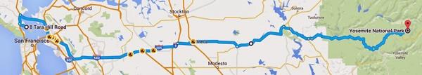 Streckenkarte der 1. Etappe der Motorradtour Rocky durch die Mountains von Tiburon, CA nach Buck Meadows, CA