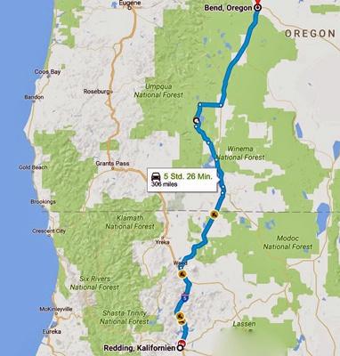 Streckenkarte der 14. Etappe einer Motorradtour durch die Rocky Mountains von Bend, OR nach Redding, CA