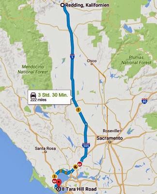 Streckenkarte der 15. Etappe einer Motorradtour durch die Rocky Mountains von Redding, CA nach Tiburon, CA
