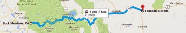 Streckenkarte der 2. Etappe Motorradtour durch die Rocky Mountains von Buck Meadows, CA nach Tonopah, NV