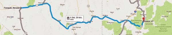 Streckenkarte der 3. Etappe Motorradtour durch die Rocky Mountains von Tonopah, NV nach Hatch, UT