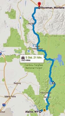 Streckenkarte der 7. Etappe Motorradtour durch die Rocky Mountains durch den Yellowstone National Park