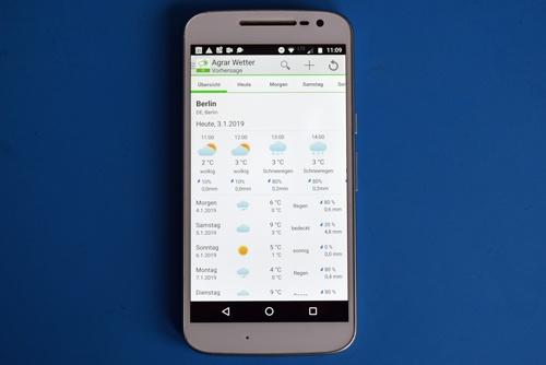 Startbild der Agrar Wetter App als Beispiel für praktische Smartphone-Apps für Motorradtouren