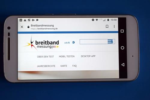 Startseite der App Breitbandmessung der Bundesnetzagentur als Beispiel für Apps für Motorradtouren