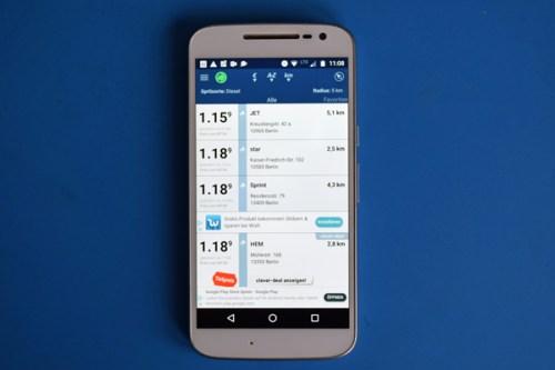 Smartphone-App Clever Tanken für günstige Benzinpreise als Beispiel für nützliche Smartphone-Apps für Motorradtouren