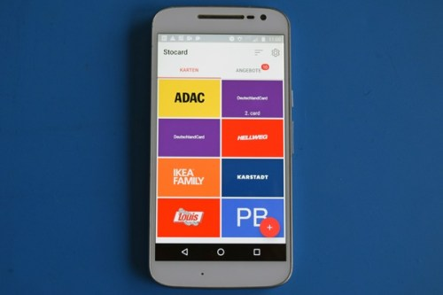 Ansicht der Smartphone-App Stocard zur Speicherung von Kundenkarten als Beispiel für mehr Apps für Motorradtouren