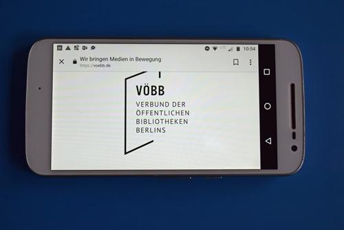 Startbild der Smartphone-App des Verbundes der öffentlichen Bibliotheken Berlins