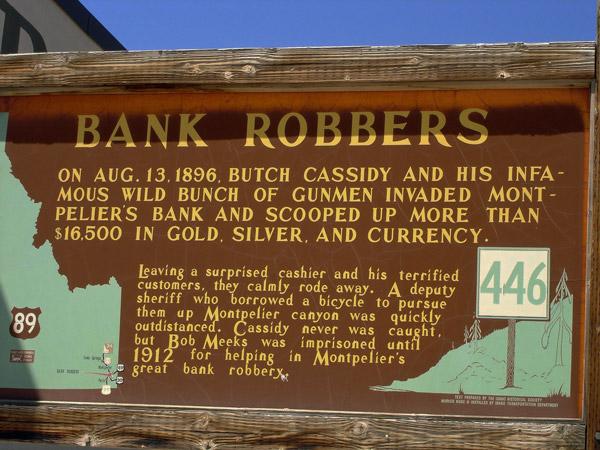 Erinnerungstafel an den Butch Cassidy Bank Robbery in Montpelier, WY