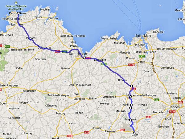 Streckenplan 10. Etappe Motorradtour durch Frankreich an den Atlantik von Perros-Guirec nach Paimpont