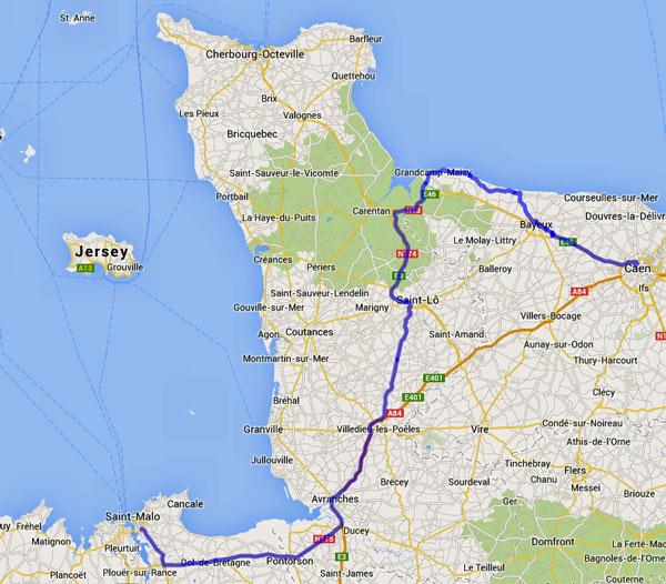Streckenplan 13. Etappe Motorradtour durch Frankreich an den Atlantik von St-Malo nach Caen